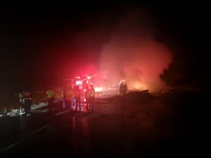 Bolu'da, TEM Otoyolu'nda mukavva yüklü kamyon alev alev yandı