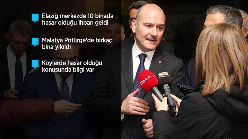 İçişleri Bakanı Soylu'dan Elazığ'daki depreme ilişkin açıklama: 4 can kaybı var