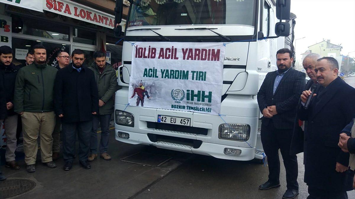 Bozkır'dan İdlib'e 1 tır yardım malzemesi gönderildi