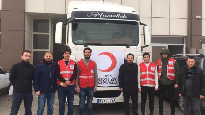 Konya'dan depremzedeler için toplanan yardım tırı yola çıktı