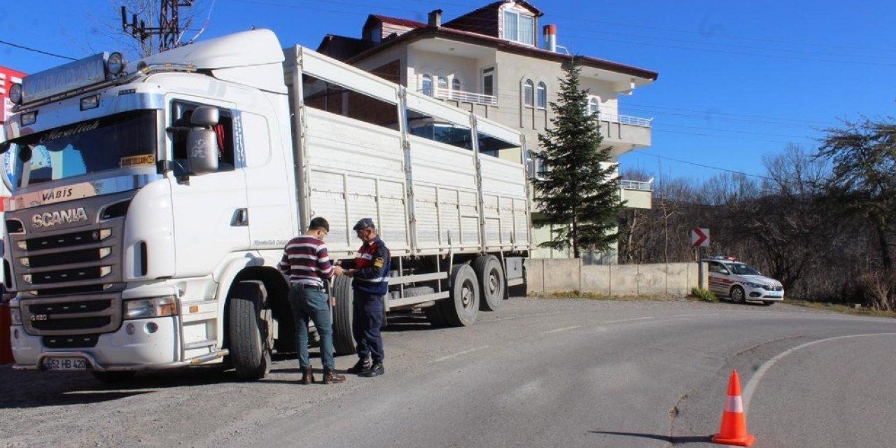 Ordu'da 29 ağır yük aracı trafikten men edildi