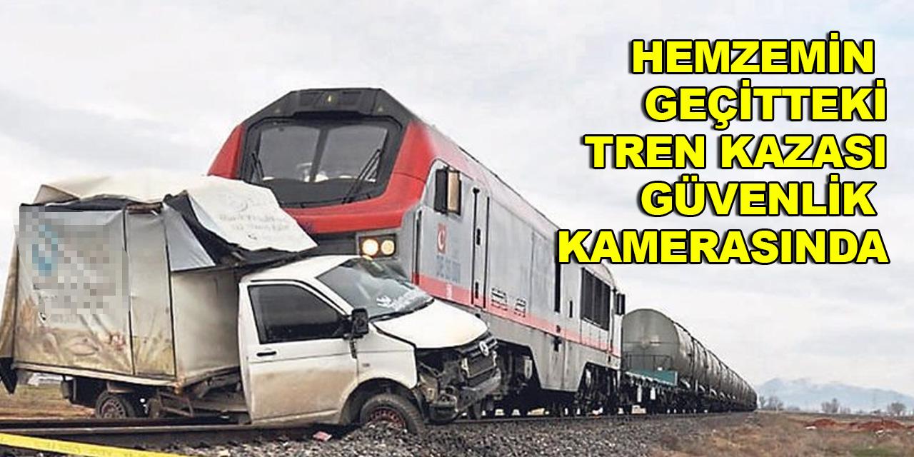 Hemzemin geçitteki tren kazası güvenlik kamerasında