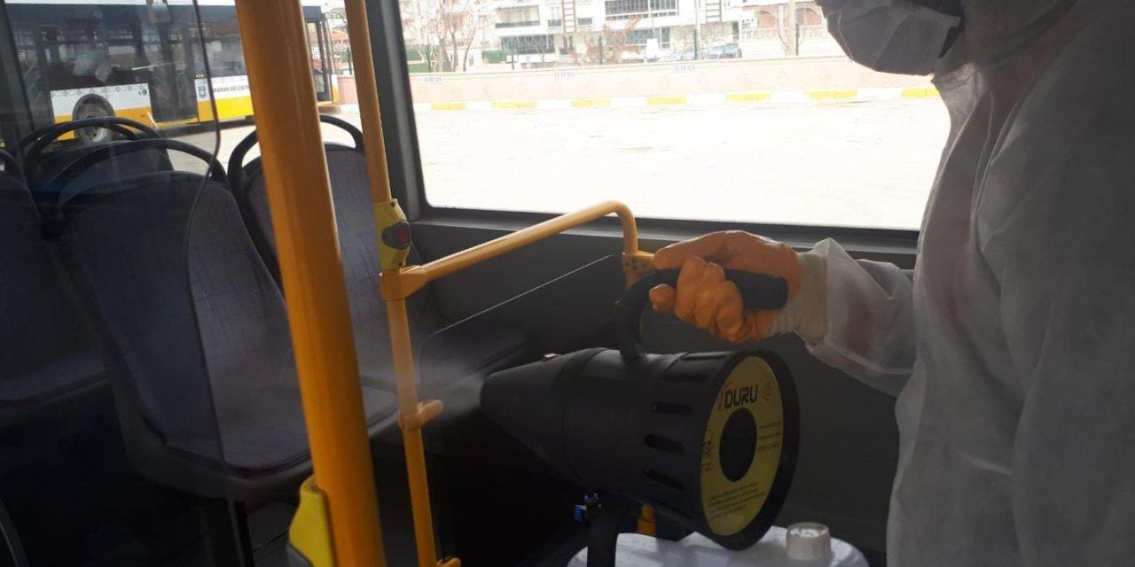 Karaman'da toplu taşıma araçlarında dezenfeksiyon yapıldı