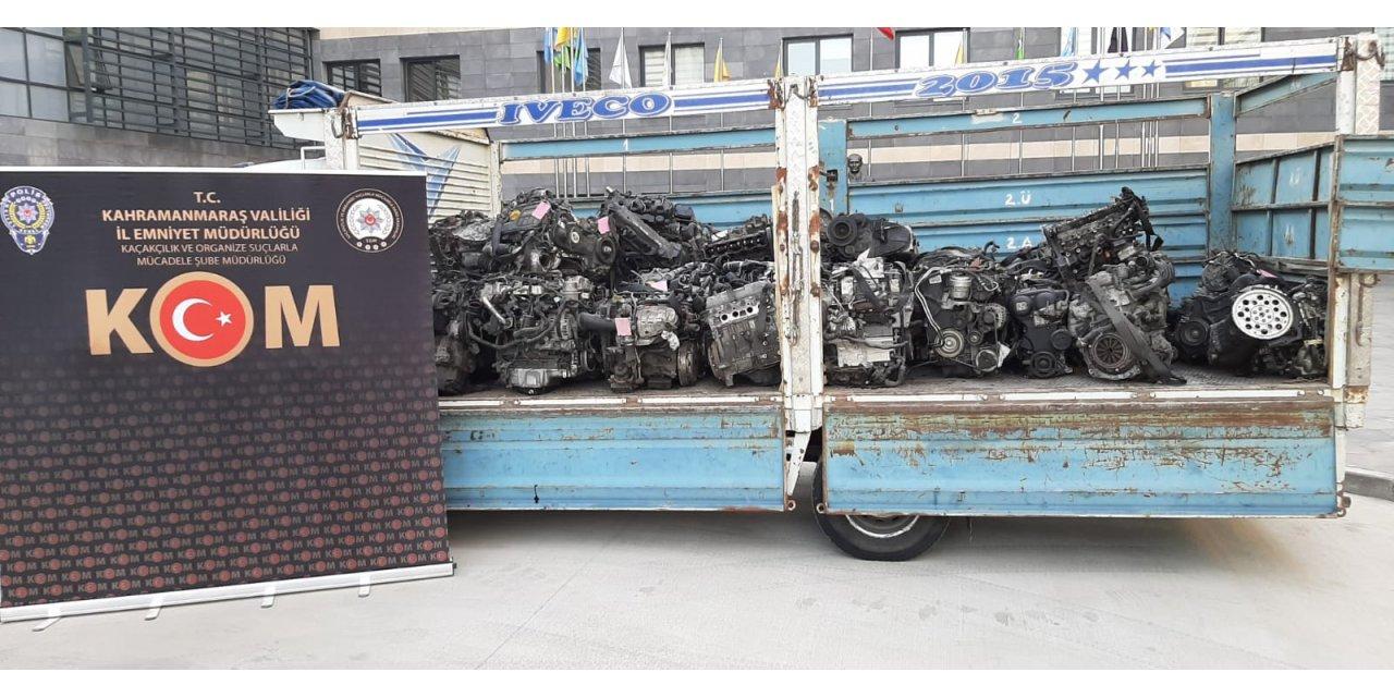 Kahramanmaraş'ta gümrük kaçağı 40 otomobil motoru ele geçirildi