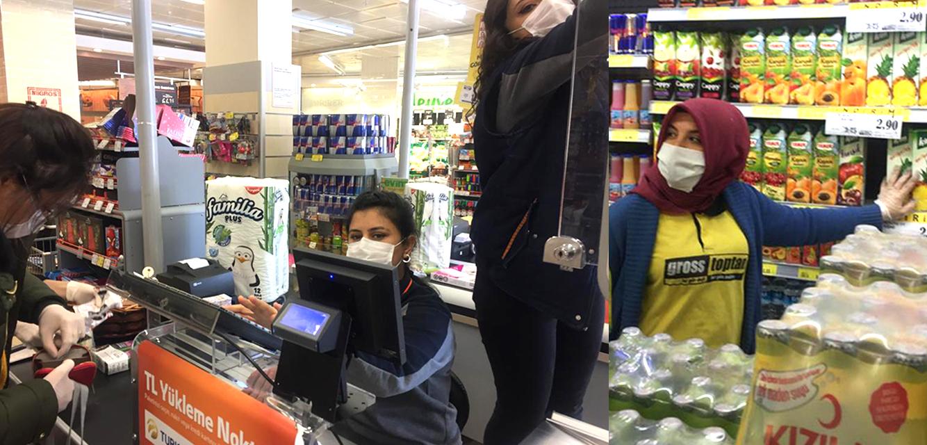 Selçuklu'da bakkal ve market çalışanları maske kullanıyor