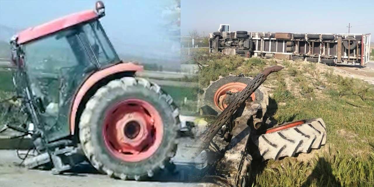 Bu kaza Konya'da yaşandı! Traktör sürücüsünün hayati tehlikesi devam ediyor