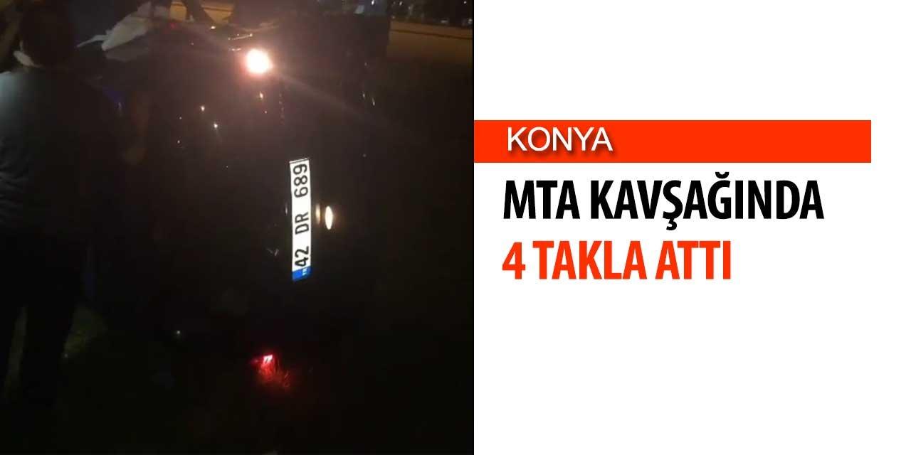 Konya MTA Kavşağında Araç 4 Takla Attı