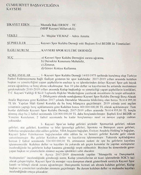 MHP Milletvekili Baki Ersoy, Kayserispor'u mahkemeye verdi