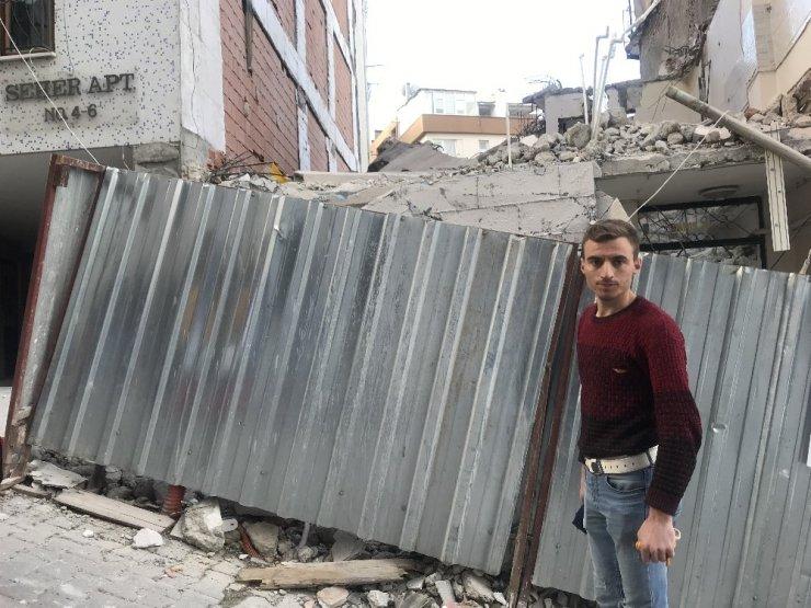 İnşaatta yıkım çalışması sırasında beton blok düştü, iki işçi yaralandı