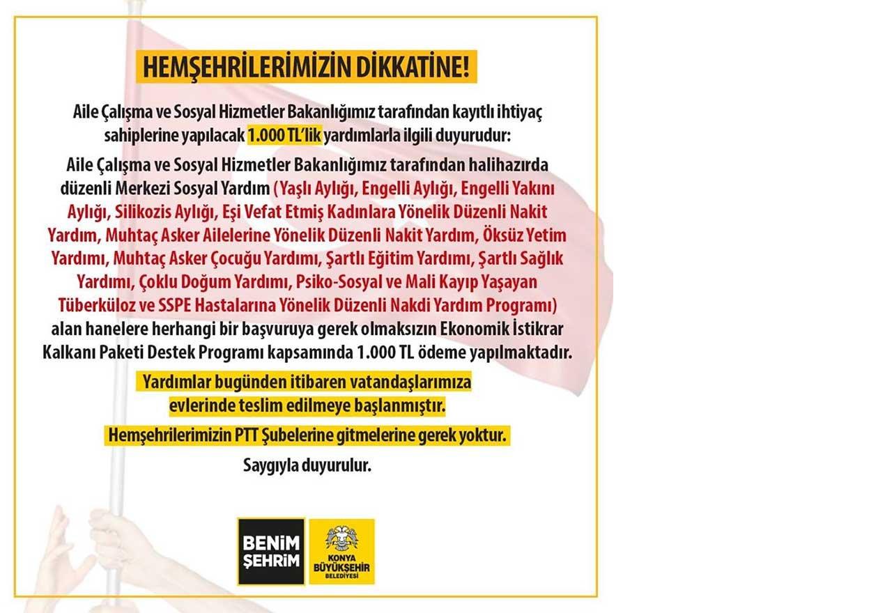 Konya Büyükşehir Belediyesi Açıklama 03 Nisan 2020