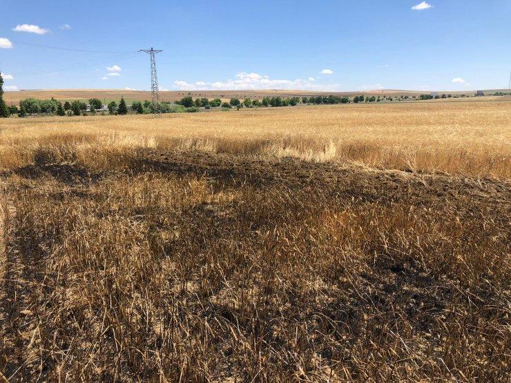 Konya'da 2 buğday tarlası alev alev yandı