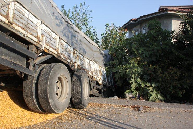 Sakarya'da mısır yüklü kamyon evin bahçesine girdi: 1 yaralı