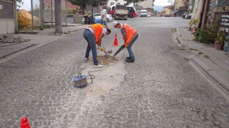 Tarihi bölgede küp taş tamiri yapıldı