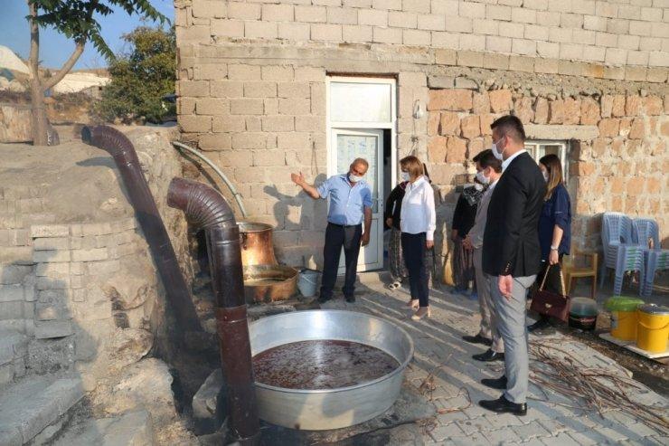 Nevşehir Valisi Becel, köyde pekmez kaynattı