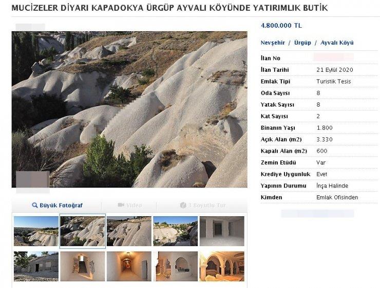 Kapadokya'da pes dedirten görüntü: Kayalar oyuldu, 'butik otel' olarak satışa sunuldu