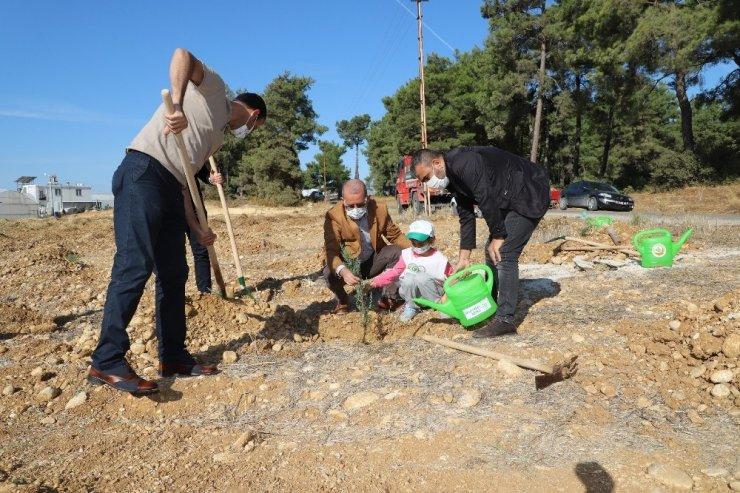 Aksu'da fidanlar toprakla buluştu